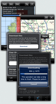 iPhone screens displaying the World Maps Offline application