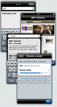iPhone screens displaying the Web Offline application