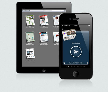 iPhone/iPad screens displaying the Web Offline application